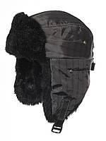 Серо-черная шапка ушанка в клетку