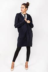 Шерстяная вязаная куртка на замке с капюшоном