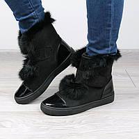 Ботинки женские кеды RST черные мех кролик, зимняя обувь