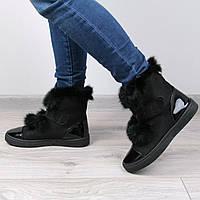 Ботинки женские кеды RST черные мех кролик размеры 36 и 37, зимняя обувь