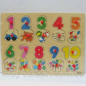 """Игра деревянная рамка-вкладыш """"Цифры 1-10"""" , фото 2"""