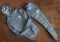 Мужской серый спортивный костюм Adidas  с капюшоном мелкое лого