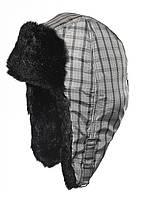 Стильная детская шапка-ушанка в клетку