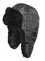 Стильная детская шапка-ушанка в клетку с мехом