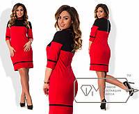 Платье  из креп-дайвинга с воротом-стойкой, контрастными вставками большого размера 48-54