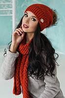 ШАПКА +шарф - комплект цвета Терракот