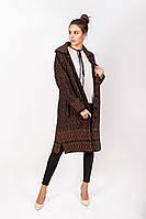Пальто вязаное женское на пуговицах с отложным воротником