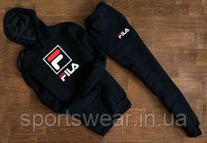 """Cпортивный чёрный костюм Fila  F с капюшоном  """""""" В стиле Fila """""""""""