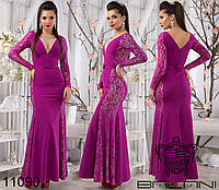 Платье в пол с легким шлейфом, в комплекте с декоративным пояском.