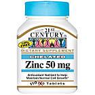 Zinc 50 mg Chelated (Цинк 50 мг Хелатная форма) 110 таблеток, 21st Century