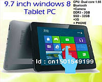 "9.7"" ПЛАНШЕТ 3G на WINDOWS 8 + WI-FI + BLUETOOTH + CAMERA, фото 1"