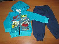 Детские теплые зимние костюмы 3-х нитка на байке Тачки  для мальчика 68-80 см