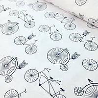 Хлопковая ткань с черными совами на велосипедах №67