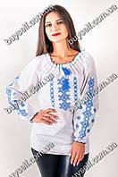 Вышиванка женская в украинском стиле Дарина, вышивка синяя