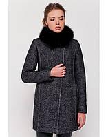 Модное женское пальто из твида с мехом