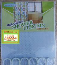 Шторка для ванной комнаты Shower curtain, однотонная голубая. Размер 200х180 см.