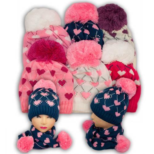 Шапка и шарф для девочек, подкладка флис, код. V221