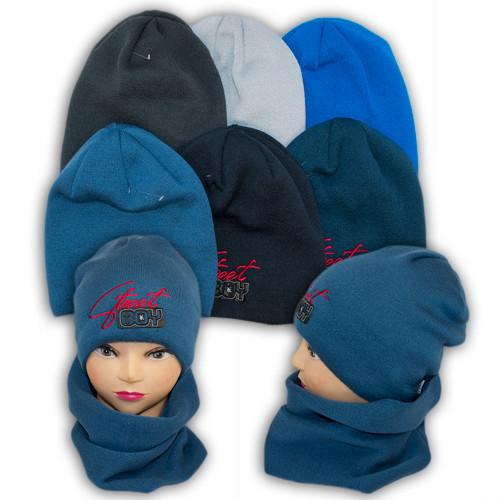 Шапка и шарф (хомут) для мальчика, подкладка флис, код. V323