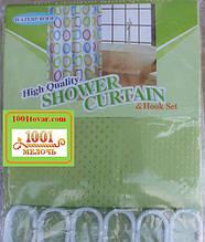 Шторка для ванной комнаты Shower curtain, однотонная салатная. Размер 180х180 см.