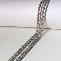 Цепочка бижутерийная, звено 5х4 мм, цвет- серебро, 50 см