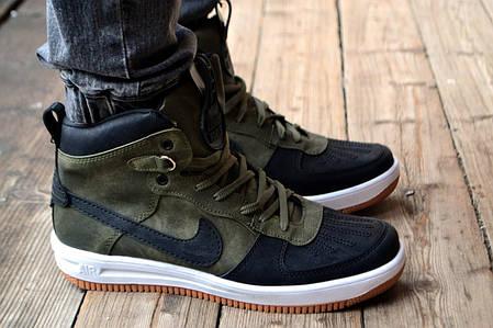 Мужские кроссовки Nike Lunar черно-зеленые топ реплика, фото 2