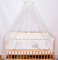 Балдахин в детскую кроватку с бантом из фатина Белоснежка