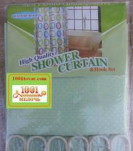 Шторка для ванной комнаты Shower curtain, однотонная светло-салатная. Размер 180х180 см.