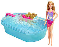 Кукла Барби меняющая цвет и плавающая собачка с бассейном