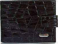 Оригинальный мужской кожаный карманный кошелек с тиснением под кожу крокодила CANPELLINI SHI1410-2KR черный