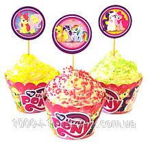 Топперы 6 шт+обёртки для кексов 6 шт Little Pony