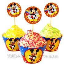 Топперы 6 шт+обёртки для кексов 6 шт Микки Маус