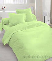 Комплект постельного белья TM Nostra Shadow lime Сатин однотонный светло-салатовый Двуспальный евро комплект