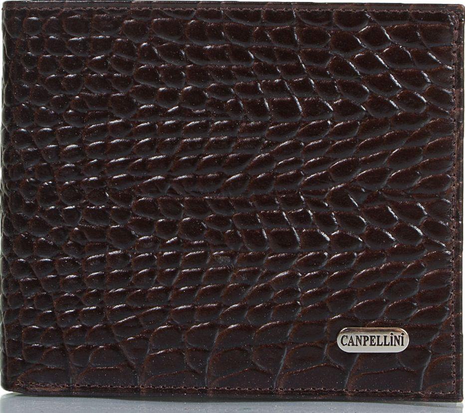 Красивый мужской кожаный карманный кошелек с тиснением под кожу крокодила CANPELLINI SHI1044-11 коричневый