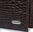 Красивый мужской кожаный карманный кошелек с тиснением под кожу крокодила CANPELLINI SHI1044-11 коричневый, фото 5