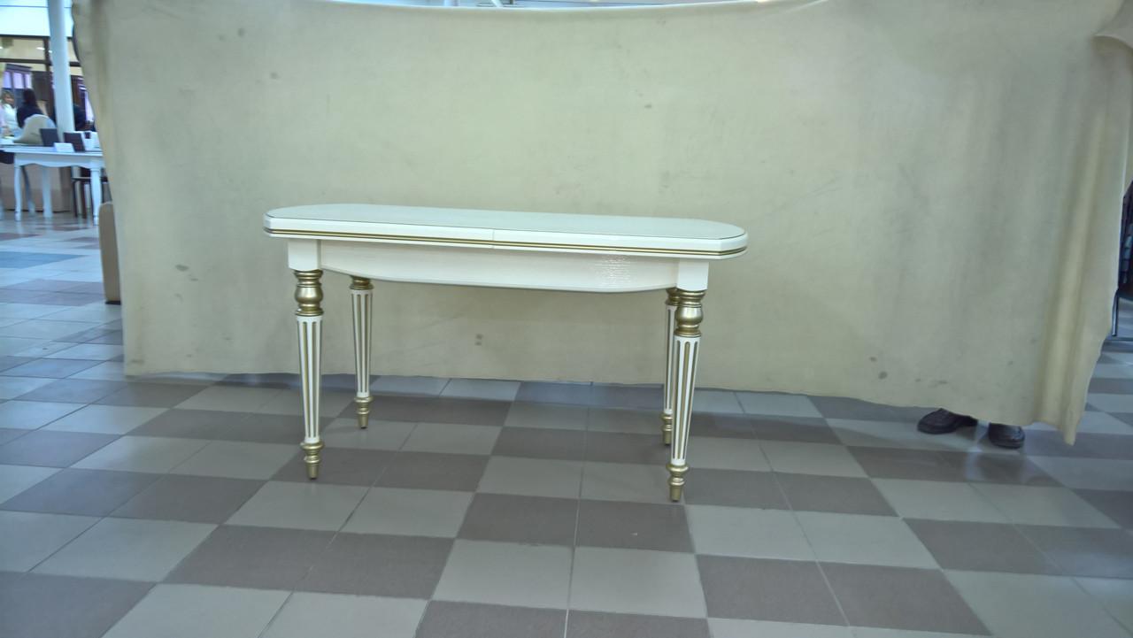Стол ГАЗДЫНЯ-2 (слоновая кость+золотая патина)