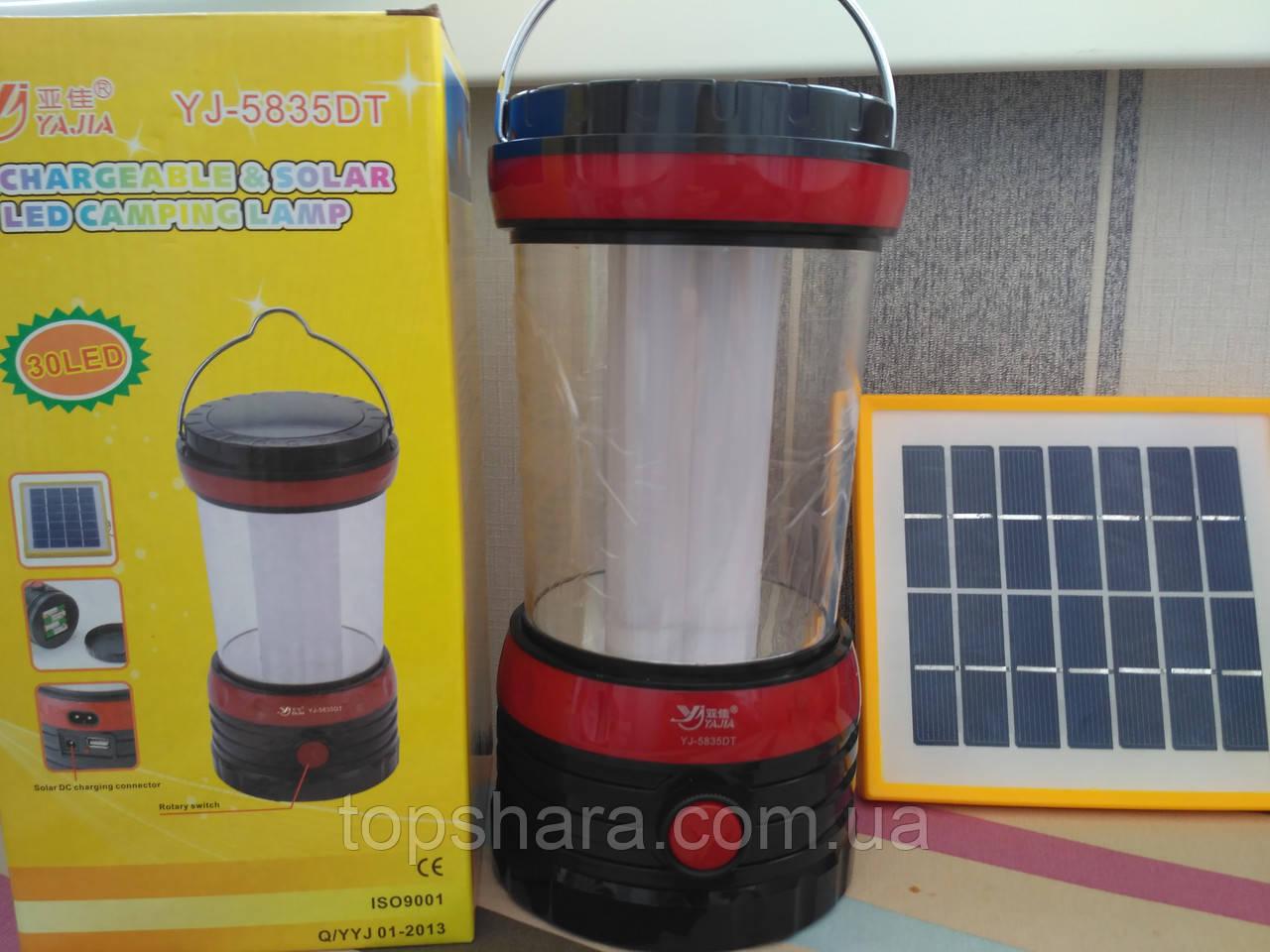 Фонарь лампа Yajia YJ- 5835 DT с солнечной панелью и USB