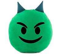 Подушка Смайлик Добрый чертёнок зеленый
