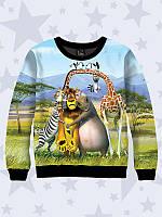 """Детский демисезонный свитшот """"Мадагаскар"""" с 3Д принтом (двухслойный трикотаж) Вильно"""