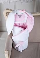 """Конверт-одеяло """"Мамина Зайка"""" для новорожденной девочки на выписку из роддома (Размер 95*95 см) ТМ MagBaby Розовый"""