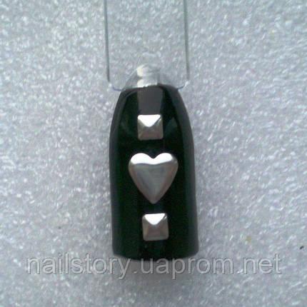 Сердце серебряное 10шт., фото 2