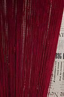 Нитяные шторы кисея с тройным стеклярусом  бордовая  (04)