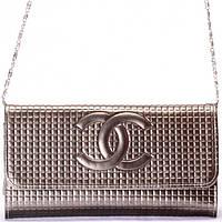 Женский кошелек - клатч серебристого цвета на цепочке, фото 1