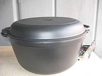 Кастрюля  чугунная эмалированная с крышкой-сковородой. Матово-чёрная. Объем 8,0 литров, 300х140 мм, фото 1