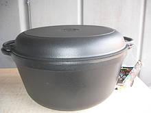 Кастрюля  чугунная эмалированная с крышкой-сковородой. Матово-чёрная. Объем 8,0 литров, 300х140 мм