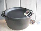 Чавунна емальована каструля з кришкою-сковородою. Матово-чорна. Обсяг 10,0 літрів, 340х150 мм, фото 2