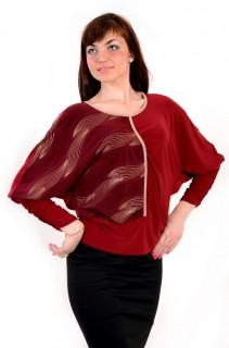 Блуза  кимано , марсала , трикотаж женская ( БЛ 443464)