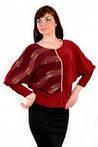 Блуза  кимано , марсала , трикотаж женская ( БЛ 443464), фото 2