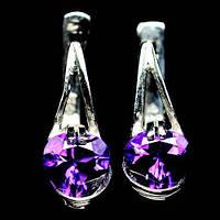 Серьги с пурпурным аметистом (огранка сердце)