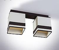 Люстра 2 ламповая, деревянная c абажурами для спальни, кухни, прихожей