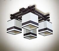 Люстра на 4 лампочки для невысоких потолков с абажурами